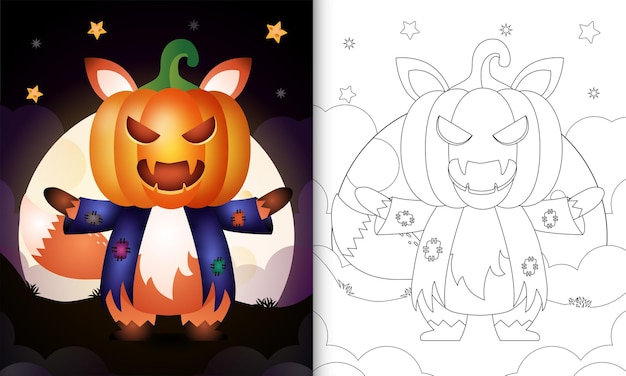 Livre de coloriage avec un renard mignon utilisant un épouvantail en costume et une citrouille halloween