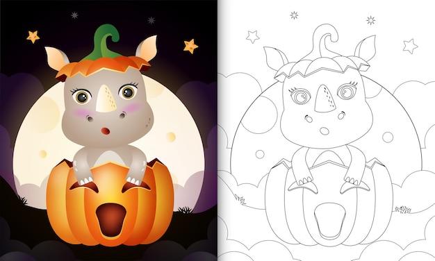 Livre de coloriage avec un rhinocéros mignon dans la citrouille d'halloween