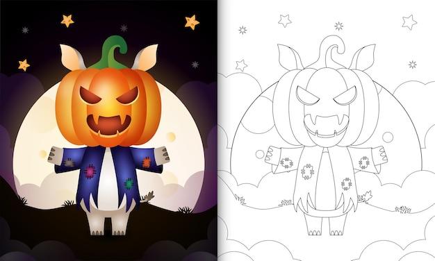 Livre de coloriage avec un rhinocéros mignon utilisant un épouvantail en costume et une citrouille halloween