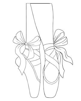Livre de coloriage vectoriel contour noir et blanc pour adultes. jambes d'une ballerine en chaussons de pointe