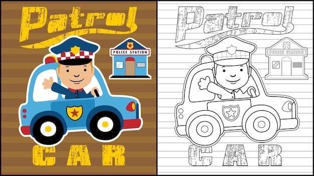 Livre à colorier ou page avec bande dessinée de patrouille de police