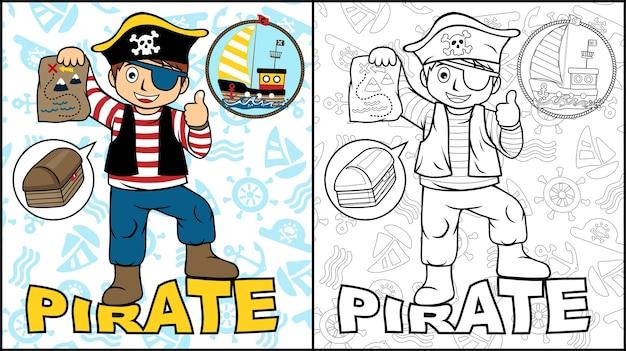 Livre à colorier ou page avec un garçon en costume de pirate