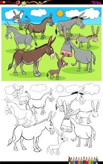 Livre de couleur du groupe des personnages des animaux de la ferme des ânes