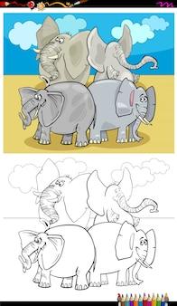 Livre de couleur du groupe de personnages d'éléphants heureux