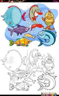 Livre de couleur du groupe de personnages de poissons animaux heureux