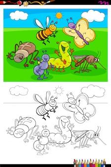 Livre de couleurs du groupe de personnages d'insectes heureux