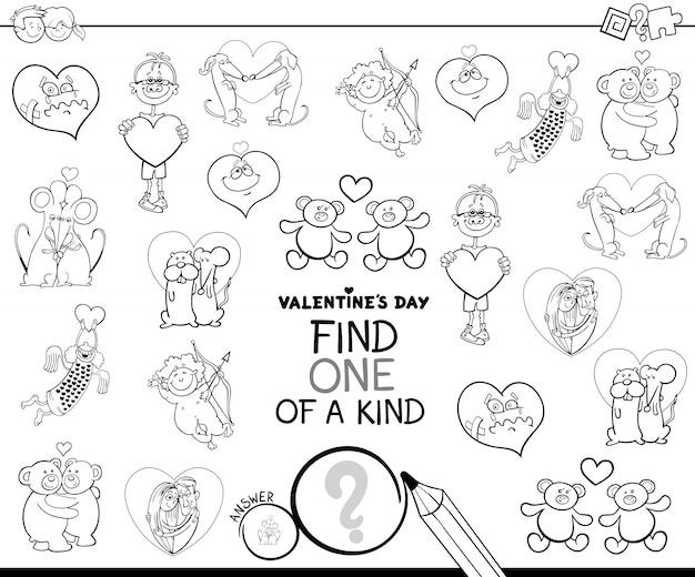 Livre de couleurs de personnage unique de la saint-valentin