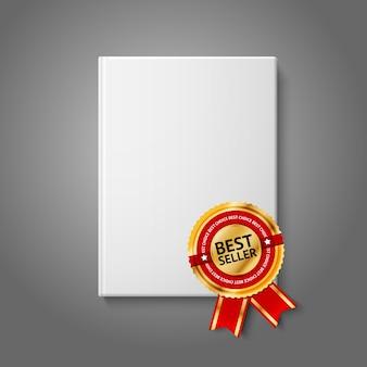 Livre à couverture rigide vierge blanc réaliste, vue de face avec étiquette de best-seller dorée et rouge.