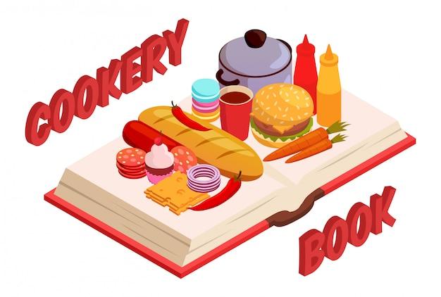 Livre culinaire isométrique