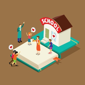 Livre d'éducation avec isométrique