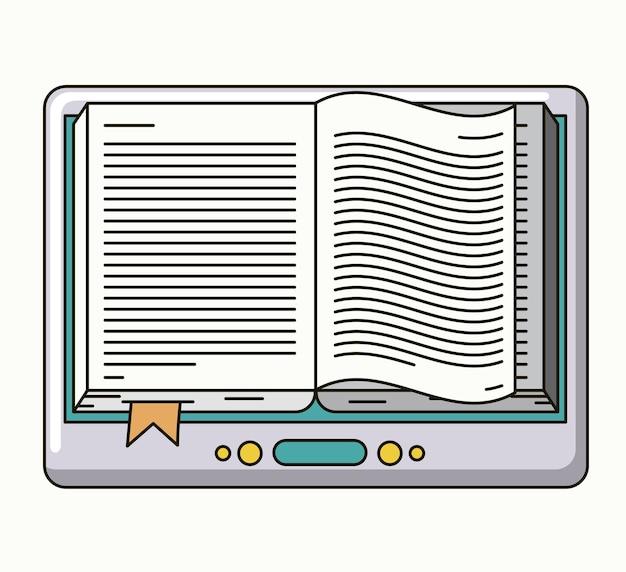 Livre électronique isolé icône dessin vectoriel