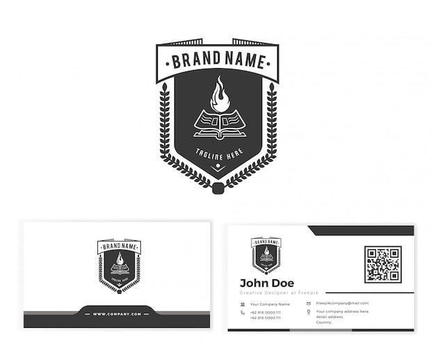 Livre emblème logo avec carte de visite papeterie