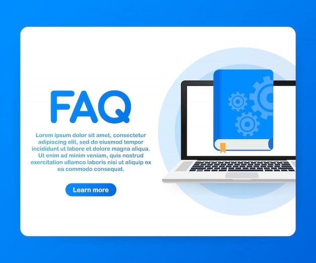 Livre faq concept pour page web, bannière, médias sociaux.