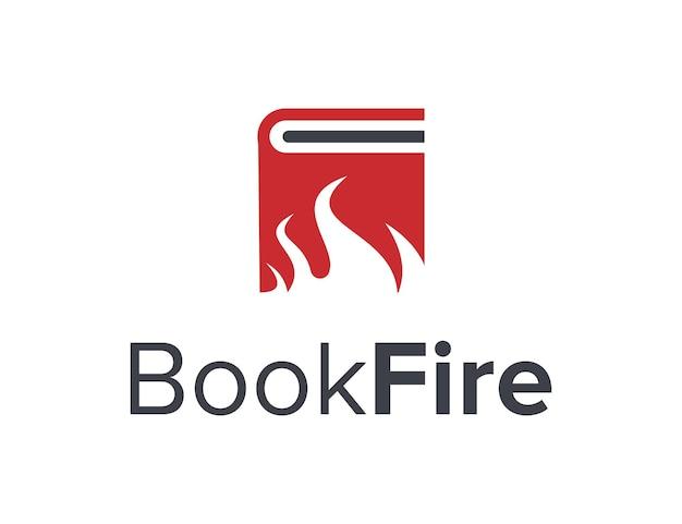 Livre et feu simple et élégant création de logo géométrique moderne