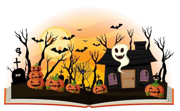 Livre d'halloween avec jack-o-lanterne et maison hantée