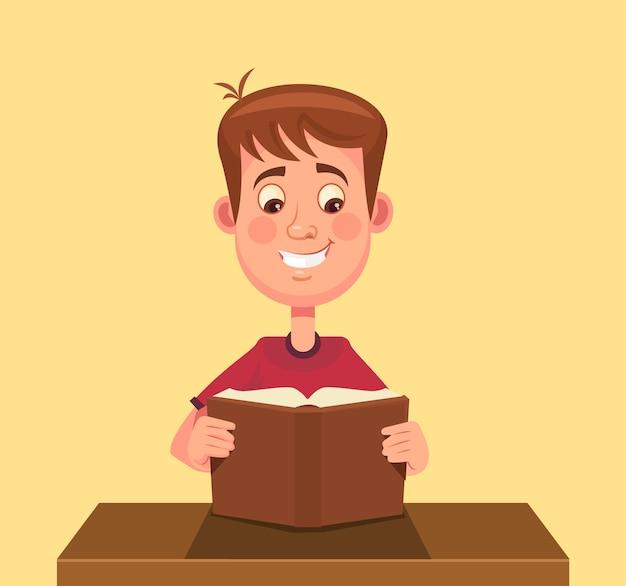 Livre de lecture de caractère petit garçon