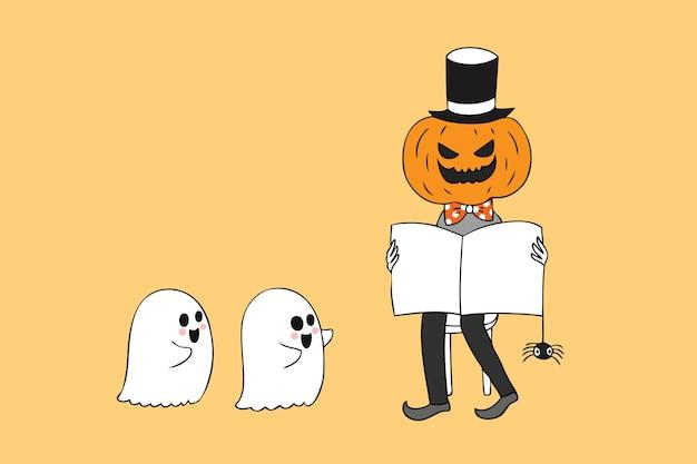 Livre de lecture de citrouille d'halloween et vecteur de fantômes de bébé.