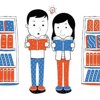 Livre de lecture de couple mignon en style cartoon