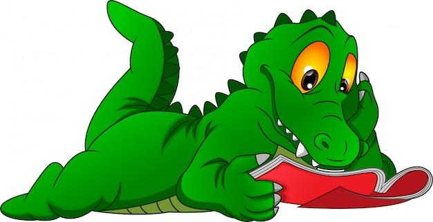 Livre de lecture de dessin animé mignon crocodile