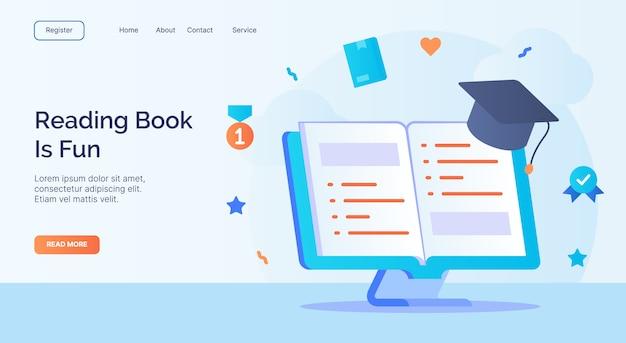 Livre de lecture est une campagne d'icône toga livre ouvert amusant pour la bannière de modèle d'atterrissage de page d'accueil de site web avec style plat de dessin animé.