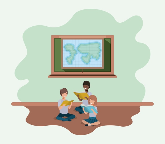 Livre de lecture avec des étudiants d'origine ethnique