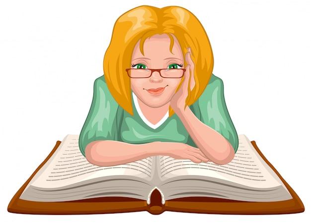 Livre de lecture de femme. jeune femme à lunettes a placé ses mains sur un livre ouvert
