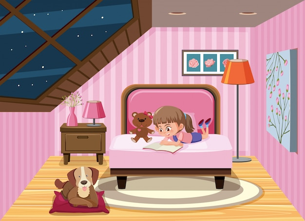 Un livre de lecture fille sur le lit