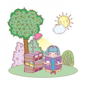 Livre de lecture fille avec soleil kawaii dans le champ
