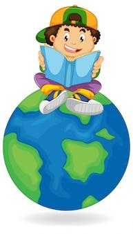 Livre de lecture de garçon sur la terre