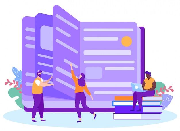Livre de lecture homme et femme. apprentissage à distance. apprentissage à distance. leçon en ligne. e-learning.
