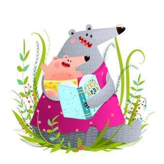 Livre de lecture de la mère ours à l'enfant