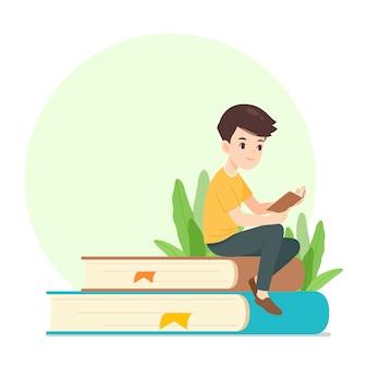 Livre de lecture de personnage homme, assis sur un livre géant, illustration de dessin animé vectorielle, pour le concept de vie moderne
