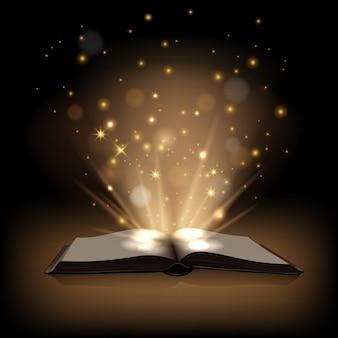 Livre magique avec des lumières magiques sur fond marron foncé.