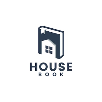 Livre de maison, éducation, modèle de logo