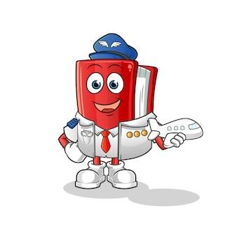 Livre mascotte pilote de personnage de dessin animé