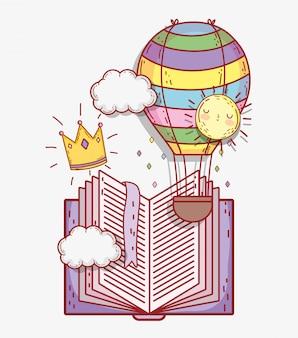 Livre avec montgolfière et couronne avec nuages