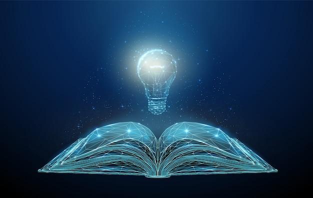 Livre ouvert abstrait low poly avec ampoule