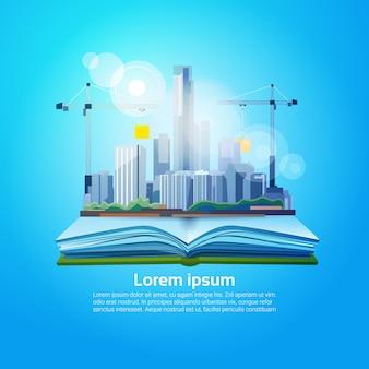 Livre ouvert big city géographie lire école education knowledge concept