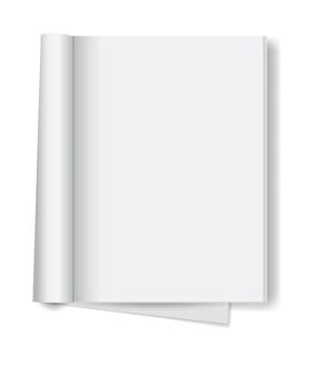 Livre ouvert blanc isolé