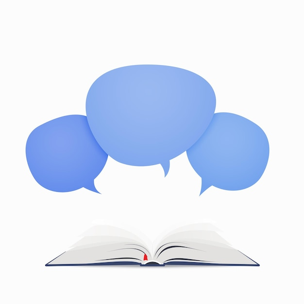Livre ouvert avec bulle de dialogue s'envolant