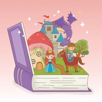 Livre ouvert avec château de conte de fées et personnages de groupe