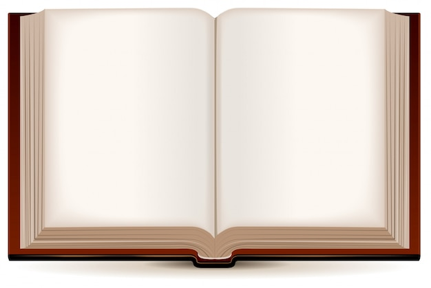 Livre ouvert dans une couverture marron
