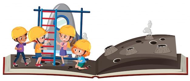 Livre ouvert, les enfants explorent l'espace
