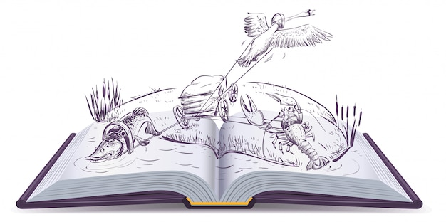 Livre ouvert fable de brochet cygne et écrevisses
