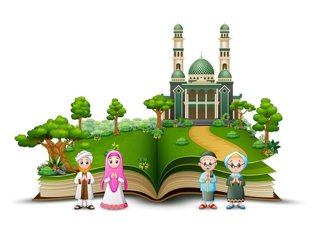 Livre ouvert avec une famille musulmane heureuse devant une mosquée