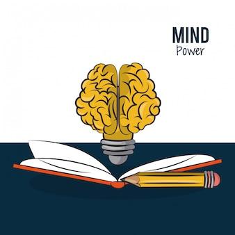 Livre ouvert avec la forme du cerveau ampoule et crayon vector illustration conception graphique