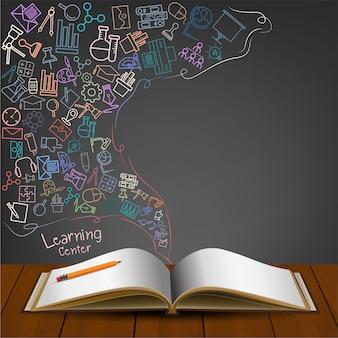 Livre ouvert avec icône doodles.