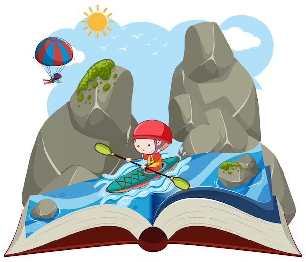 Un livre ouvert en kayak