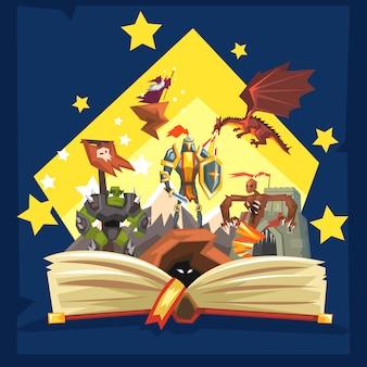 Livre ouvert avec légende, livre fantastique de queue de fée avec chevaliers, dragon, assistant, concept d'imagination