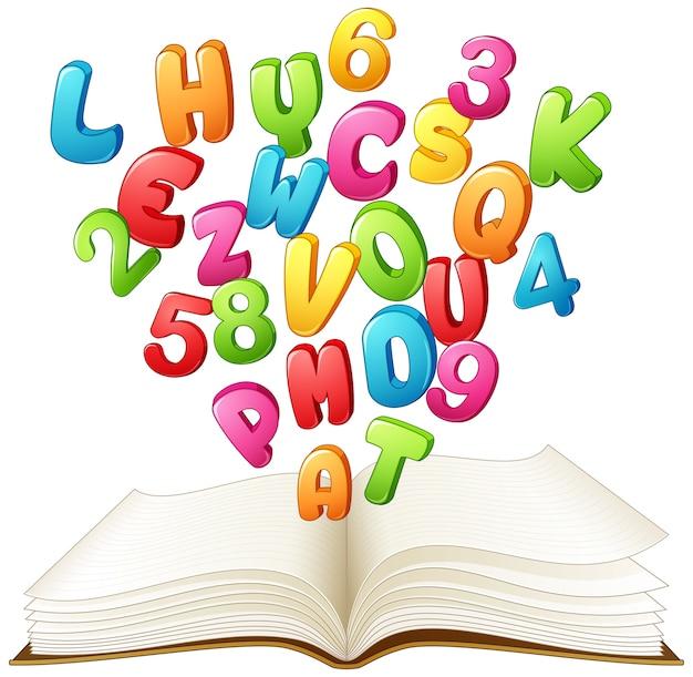 Livre ouvert avec une lettre colorée et un chiffre
